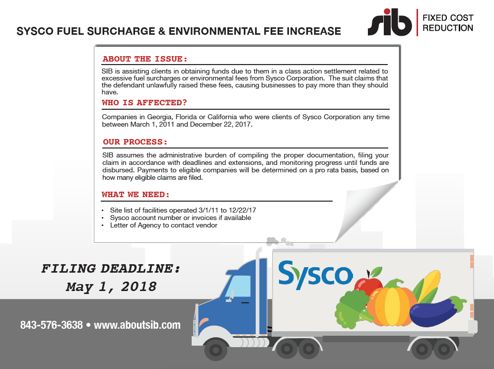 Sysco class action - SIB Fixed Cost Reduction