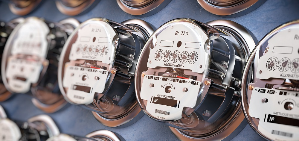 Cut Utility Costs   rows of electricity meters   SIB Fixed Cost Reduction